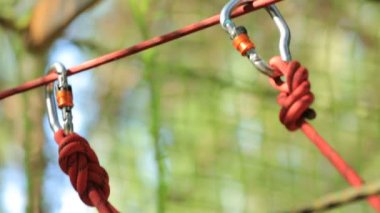 Hooks of safety rope, close-up — Stock Video