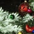 Close up of christmas decorations on a fir tree branch — Stock Video #33816499