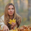 Pretty blonde lying on the fallen leaves in park — Stock Video