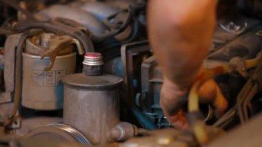 Automobile service. Auto Repair Shop. Car repairing. — Stock Video