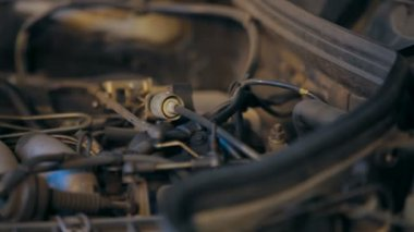 Motor Car engine. Close-up. — Stock Video