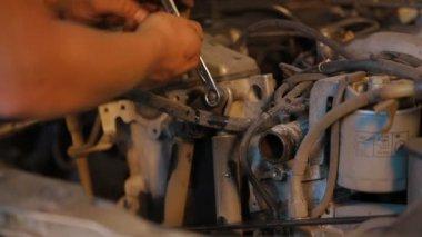 Motor Car Engine Dismantling. Close-up. — Stock Video