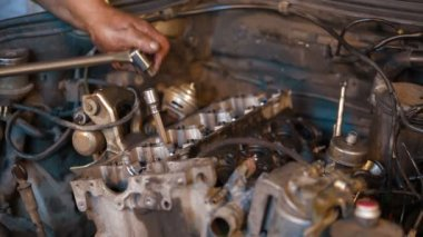 Car Service: Dismantling Of Engine — Stock Video