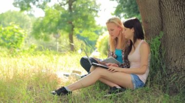 Two female students working in park — Vídeo de Stock
