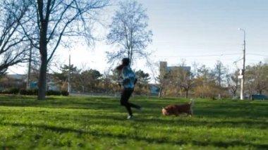 Genç kız onun pet ile parkta koşu — Stok video