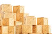 Holzkiste, isoliert auf weiss — Stockfoto