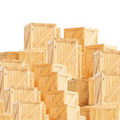 Dřevěný box izolovaných na bílém — Stock fotografie
