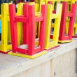 Old Wooden chairs red yellow — Stock Photo #46231287
