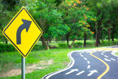 Traffic sign & symbols on the load — Stock Photo