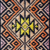 Colorful thai peruvian style rug surface close up. — Stock Photo