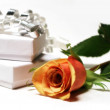 Rose And Gift Boxes — Stock Photo