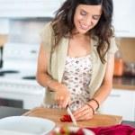 Girl preparing raw banana ice cream — Stock Photo #35815607
