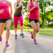 Group of women jogging in nature — Stock Photo