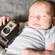 Cute newborn baby serie on grey — Stock Photo #42996513
