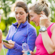 Friendship and fitness in the parc — Stock Photo #43779643
