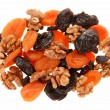 Dried fruits and walnuts. — Stock Photo