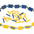 Yellow and blue beads. — Stock Photo