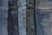 It is a close up of jeans's pile. — Stock Photo