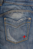 Back side of blue jeans — Stock Photo