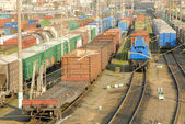 Freight trains is on railway station. — Stock Photo