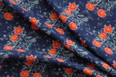 Blue old-fashioned cotton fabric — Stock Photo