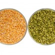 Stock Photo: Raw green peand yellow pea