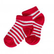 Child's red striped socks — Stock Photo