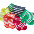 Six pairs of child's   striped socks — Stock Photo