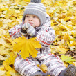 Lovely baby with yellow leaf — Stock Photo