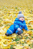 Lovely baby age of 1 year outdoors in autumn park — Stock Photo