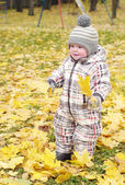 Lovely baby age of 1 year walking against yellow leaves — Stock Photo