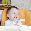 Crying baby age of 1 year don't want to eat — Stock Photo