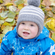 Smiling baby boy in autumn — Stock Photo