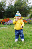 Lovely baby walking in park — Stock Photo