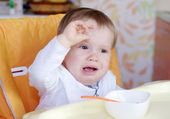Baby age of 1 year don't want to eat — Stock Photo