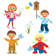 Childrens fun in springtime — Stock Photo