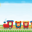 Children riding train with place for text — Stock Photo #34652951