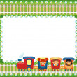 Frame with children riding train, place for text — Stock Photo