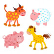 Set of farm animals on white background — Foto de Stock