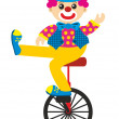 Clown goes by bicycle — Stock Photo
