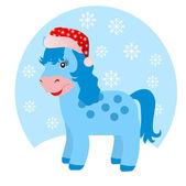 Blue horse in winter — 图库照片