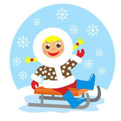 Girl on sledge in winter — Foto Stock