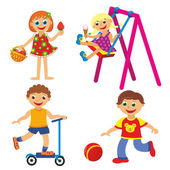 Childrens fun in summer on white background — Stock Photo