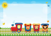 Children riding train with place for text — Stock Photo