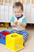 Baby boy playing toys at home — Stock Photo