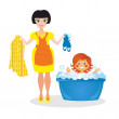 Mother washes the daughter — Stock Photo