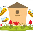 Beehive with bees — Stock Photo