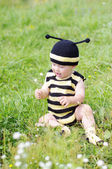 Lovely baby in bee costume with flower outdoors — Stock Photo