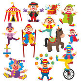 Set of clowns in circus — Stock Photo