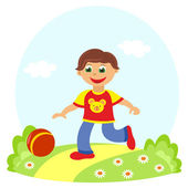Little boy playing ball outdoors — Stock Photo